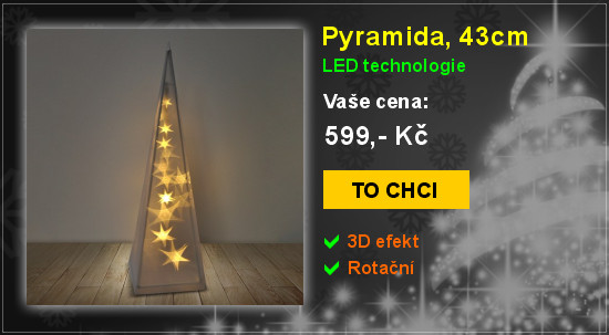 Pyramida, 43cm, LED vánoční dekorace