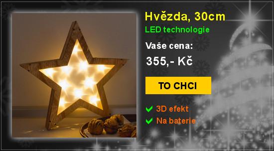 Hvězda, 30cm, LED vánoční dekorace