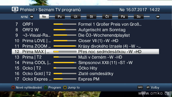 Obr č. 8 - TechniSat DigiPal T2 HD a TechniSat DigiPal T2 DVR, EPG