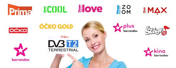 DVB-T2 vysílání - 14 TV programů v multiplexu 12